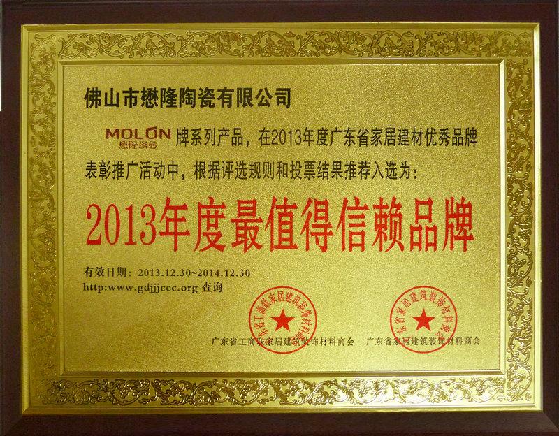 2013最信賴品牌  獎牌